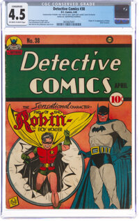 Detective Comics #38 Centerfold Married (DC, 1940) CGC Conserved VG+ 4.5 Off-white to white pages