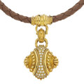 Estate Jewelry:Necklaces, Diamond, Cultured Pearl, Mother-of-Pearl, Leather, Gold Jewelry . ... (Total: 3 Items)