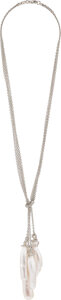 Estate Jewelry:Necklaces, Diamond, Freshwater Cultured Pearl, White Gold Necklace . ...