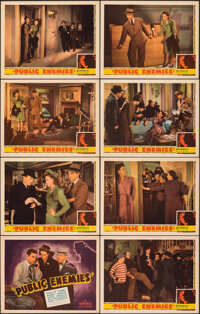 """Public Enemies (Republic, 1941). Overall: Very Fine. Lobby Card Set of 8 (11"""" X 14""""). Crime. ... (Total: 8 Ite..."""