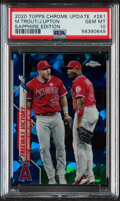 Baseball Cards:Singles (1970-Now), 2020 Topps Chrome Update Mike Trout/Justin Upton (Sapphire Edition) #261 PSA Gem Mint 10 - Pop One!...