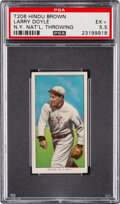 Baseball Cards:Singles (Pre-1930), 1909-11 T206 Hindu - Brown Larry Doyle (Throwing) PSA EX+ 5.5 - Pop Two, None Higher for Brand. ...