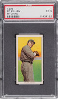 Baseball Cards:Singles (Pre-1930), 1909-11 T206 Sweet Caporal 150/25 Ed Killian (Pitching) PSA EX 5 - Pop One, None Higher for Brand/Series/Factory. ...