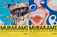 Takashi Murakami (b. 1962) The Octopus Eats Its Own Leg, exhibition posters (two works), 2018 Offset lithographs in co...
