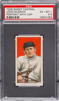 Baseball Cards:Singles (Pre-1930), 1909-11 T206 Sweet Caporal 350-460/42OP John McGraw (Portrait, With Cap) PSA EX-MT+ 6.5 - Pop One, One Higher for 42 Overprint...
