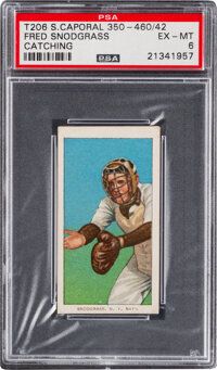 1909-11 T206 Sweet Caporal 350-460/42 Fred Snodgrass (Catching) PSA EX-MT 6 - Pop One, Only One Higher with Factory 42 B...