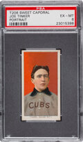 Baseball Cards:Singles (Pre-1930), 1909-11 T206 Sweet Caporal 350/30 Joe Tinker (Portrait) PSA EX-MT 6 - Pop One, None Higher for Brand/Series/Factory. ...