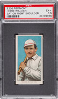 Baseball Cards:Singles (Pre-1930), 1909-11 T206 Piedmont 350-460/42 Heinie Wagner (Bat On Right Shoulder) PSA EX+ 5.5 - Pop One, None Higher with Factory 42 Back...