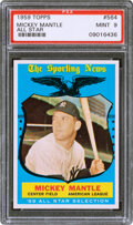 Baseball Cards:Singles (1950-1959), 1959 Topps Mickey Mantle (All Star) #564 PSA Mint 9 - Two ...