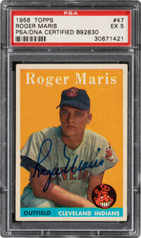 Signed 1958 Topps Roger Maris #47 PSA EX 5, PSA/DNA Certified Auto