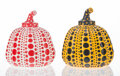 Collectible, Yayoi Kusama (b. 1929). Red and Yellow Pumpkin (two works), circa 2013. Painted cast resin. 4 x 3-1/4 x 3-1/4 inches (10... (Total: 2 Items)