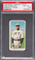 Baseball Cards:Singles (Pre-1930), 1909-11 T206 Sweet Caporal 150/30 Rube Marquard (Hands At Thighs) PSA EX-MT+ 6.5 - Pop One, None Higher for Brand/Series/Facto...