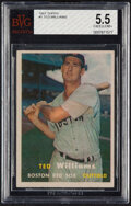 Baseball Cards:Singles (1950-1959), 1957 Topps Ted Williams #1 BVG EX+ 5.5....