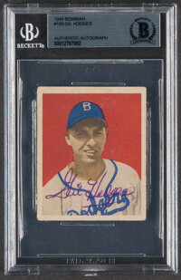 Signed 1949 Bowman Gil Hodges #100 Beckett Authentic Auto