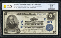 Jersey City, NJ - $5 1902 Plain Back Fr. 598 The First National Bank Ch. # (E)374 PCGS Banknote Uncirculated 62
