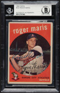Autographs:Sports Cards, Signed 1959 Topps Roger Maris #202 Beckett Authentic Auto....