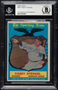 Autographs:Sports Cards, Signed 1959 Topps Casey Stengel #552 Beckett Authentic Auto....