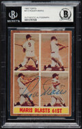 """Autographs:Sports Cards, Signed 1962 Topps Roger Maris """"Maris Blasts 61st"""" #313 Beckett Authentic Auto. ..."""