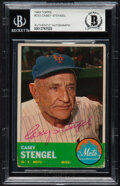 Autographs:Sports Cards, Signed 1963 Topps Casey Stengel #233 Beckett Authentic Auto....