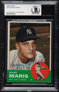 Autographs:Sports Cards, Signed 1963 Topps Roger Maris #120 Beckett Authentic Auto. ...