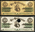 Confederate Notes:1861 Issues, CT16/86A $50 1861 Choice About Uncirculated, Hole Cancelled;. CT16/86F $50 1861 Fine.. ... (Total: 2 notes)