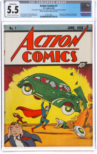 Action Comics #1 (DC, 1938) CGC Conserved FN- 5.5 Cream to off-white pages