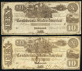 Confederate Notes:1861 Issues, CT29/237A $10 1861 Two Examples Fine.. ... (Total: 2 notes)