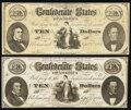 Confederate Notes:1861 Issues, CT25/168A $10 1861 Fine;. CT25/168B $10 1861 Fine.. ... (Total: 2 notes)
