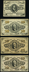 Fractional Currency:Third Issue, Fr. 1238 5¢ Third Issue VF;. Fr. 1251 10¢ Third Issue New (2);. Fr. 1255 10¢ Third Issue XF.. ... (Total: 4 notes)