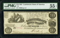 Confederate Notes:1861 Issues, T28 $10 1861 PF-8 Cr. 235A PMG About Uncirculated 55 EPQ.. ...