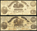 Confederate Notes:1861 Issues, CT14/64A $50 1861 Fine;. CT14/75A $50 1861 Fine, CC.. ... (Total: 2 notes)