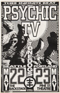 Music Memorabilia:Posters, Psychic TV Late 1980's Pine Street Theatre Concert Poster Paste-Up. ...