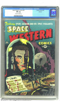 Golden Age (1938-1955):Science Fiction, Space Western #43 Spokane pedigree (Charlton, 1953) CGC NM- 9.2Off-white to white pages. Stan Campbell's moody cover is utt...