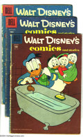 Golden Age (1938-1955):Funny Animal, Walt Disney's Comics and Stories Group (Dell, 1959-62) Condition:Average VG-. This group includes #215-217, 224, 226, 227, ...(Total: 9 Comic Books Item)