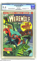 Bronze Age (1970-1979):Horror, Werewolf by Night #15 (Marvel, 1974) CGC NM 9.4 Off-white pages.Story continued from Tomb of Dracula #18. New origin Werewo...