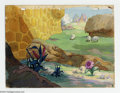 Original Comic Art:Miscellaneous, Unknown Animation Studio - Background Painting for Cartoon OriginalArt (undated). This pastoral landscape of an English mea...