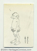Original Comic Art:Sketches, Frank Frazetta - Cute Caveman Sketch Original Art (undated). Very fine line pen drawing of this standing caveman. The paper...