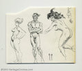 Original Comic Art:Sketches, Frank Frazetta - Three Detailed Nude Figure Studies Sketch Original Art (undated). A beautiful study of human anatomy, with...