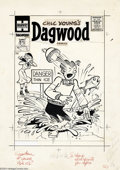 Original Comic Art:Covers, Paul Fung Jr. - Dagwood Comics #63 Cover Original Art (Harvey,1956). Dagwood breaks the ice and fishes at the same time -- ...