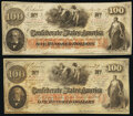 Confederate Notes:1862 Issues, T41 $100 1862 PF-15 Cr. 316 Very Fine;. T41 $100 1862 PF-25 Cr. 318A Very Fine.. ... (Total: 2 notes)