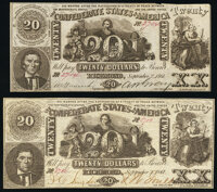 CT20/141D Counterfeit $20 1861 Crisp Uncirculated; CT20/142 Counterfeit $20 1861 Very Fine-Extremely Fine. ... (Total: 2...