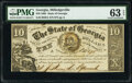 Obsoletes By State:Georgia, Milledgeville, GA- State of Georgia $10 Mar. 20, 1865 Cr. 33A PMG Choice Uncirculated 63 EPQ.. ...