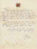 """Movie/TV Memorabilia:Documents, Bruce Lee Handwritten Letter Signed """"Bruce"""" Written to Bob Baker Regarding Lee's Location Scouting Trip to India with James Co..."""