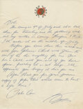 """Movie/TV Memorabilia:Documents, Bruce Lee Handwritten Letter Signed """"Bruce"""" Written to Bob Baker Regarding an Upcoming Visit and Thanking Him for """"Your Genero..."""