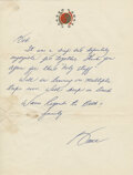 """Movie/TV Memorabilia:Documents, Bruce Lee Handwritten Letter Signed """"Bruce"""" Written to Bob Baker Regarding An Enjoyable Get Together and Thanking Him For """"Hol..."""