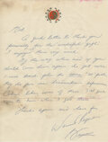 """Movie/TV Memorabilia:Documents, Bruce Lee Handwritten Letter Signed """"Bruce"""" Written to Bob Baker Thanking Him for the """"Wonderful Gifts"""" and Requesting More """"M..."""