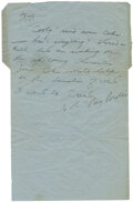 """Movie/TV Memorabilia:Documents, Bruce Lee Handwritten, Unsigned Letter Written to Bob Baker """"Stoned as Hell"""" and Requesting Baker to Send Coke to Hong Kong to..."""