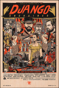 Django Unchained, 6/55 by Tyler Stout (Mondo, 2013). Mint. Hand Numbered Variant Limited Edition Screen Print on Wood (3...