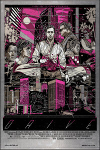 """Drive, 11/50 by Tyler Stout (Mondo, 2013). Mint. Hand Numbered Variant Limited Edition Screen Print on Metal (36"""" X..."""