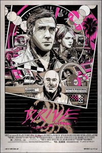 """Drive, 11/ 50 by Tyler Stout (Mondo, 2013). Mint. Hand Numbered Variant Limited Edition Screen Print on Metal (36""""..."""